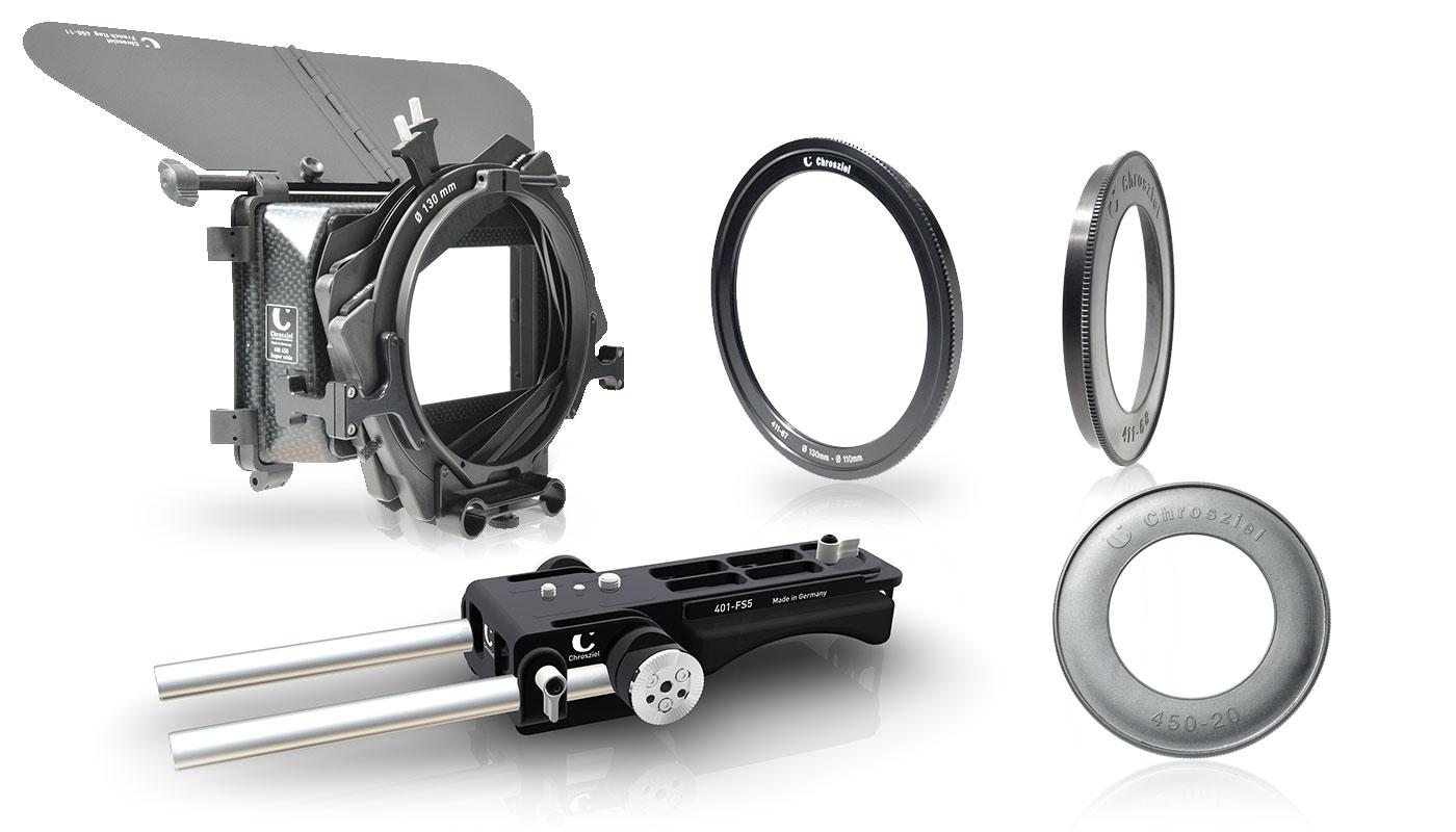 Kit für Sony PXW-FS5: Mattebox 450W, Leichtstütze, Ringe
